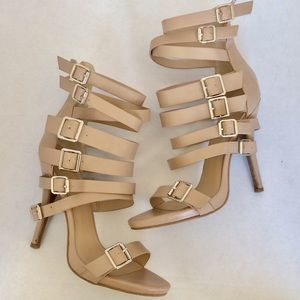 Shoes - Vegan Leather Strapping Gladiator Heels